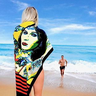 Bombshell Beach Towel by Ravenged | Artist Anita Nevar.