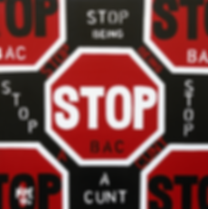 STOP BEING A CUNT Contemporary Abstract Original Canvas Painting For Sale by Erotic Artist Anita Nevar.
