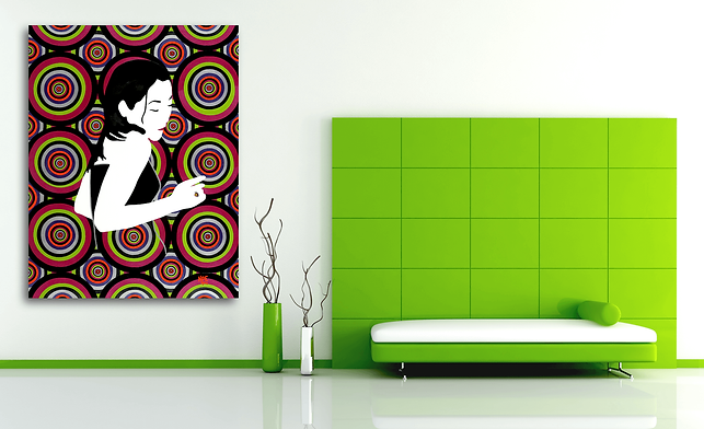 DISCO TRIP Pop Erotic Artwork for Modern Home Interior | Original Canvas Painting For Sale by Artist Anita Nevar.