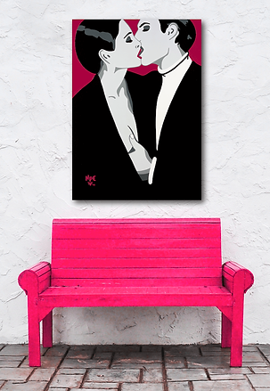 BURNING DESIRE Pink Pop Erotic Artwork for Modern Home Interior | Fine Art Prints For Sale by Artist Anita Nevar.