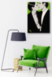 BURNING DESIRE Green Pop Erotic Artwork for Modern Home Interior | Fine Art Prints For Sale by Artist Anita Nevar.
