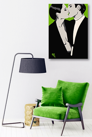 BURNING DESIRE Green Pop Erotic Artwork for Modern Home Interior | Fine Art Prints For Sale by Artist Anita Nevar.