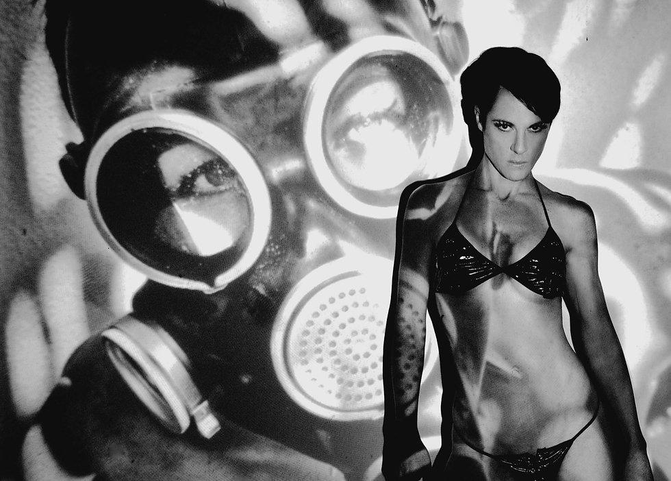 Black and White BDSM Fetish Mask Portrait | Pop Erotic Artist Anita Nevar.