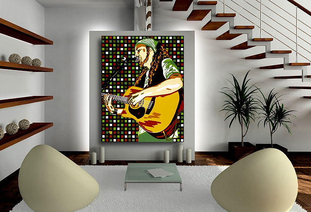 SHAANTI ON FIRE Contemporary Pop Rock Artwork for Modern Home Interior | Fine Art Prints For Sale by Artist Anita Nevar.