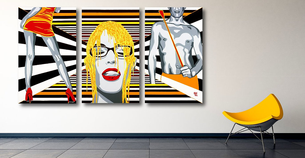 OBSESSIONS Pop Erotic Artwork for Modern Home Interior | Original Canvas Painting For Sale by Artist Anita Nevar.