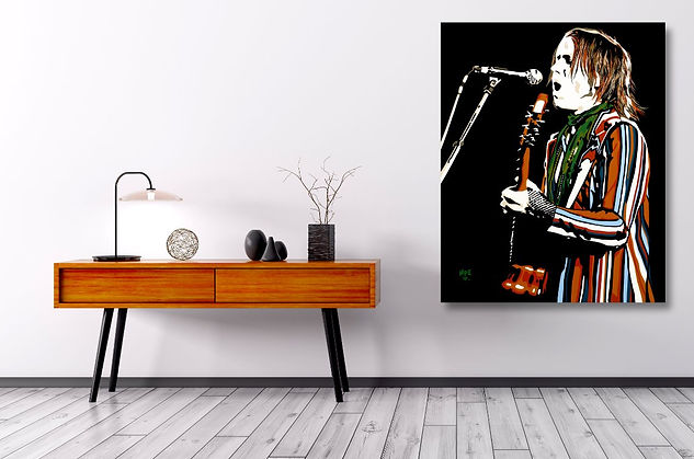 CAXTIN DREAMING Contemporary Pop Rock Artwork in Modern Home Interior | Private Commissions by Artist Anita Nevar.