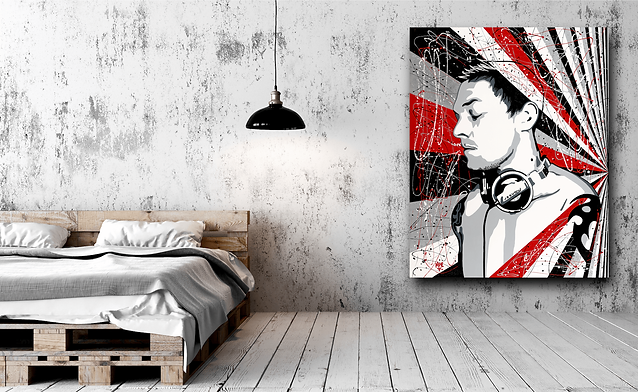 DEEJAY LK Contemporary Pop Rock Artwork for Modern Home Interior | Original Canvas Painting For Sale by Artist Anita Nevar.