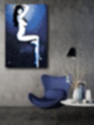 MISS DAISY Blue Pop Erotic Artwork for Modern Home Interior | Fine Art Prints For Sale by Artist Anita Nevar.