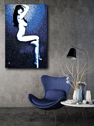 MISS DAISY Blue Pop Erotic Artwork for Modern Home Interior | Fine Art Prints For Sale by Artist Anita Nevar.