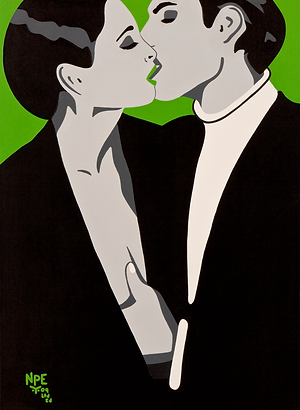 BURNING DESIRE Green Fine Art Prints For Sale | Pop Erotic Artwork by Artist Anita Nevar.