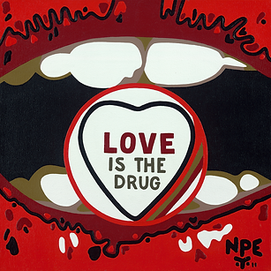 LOVE IS THE DRUG Original Canvas Painting For Sale | Pop Erotic Artwork by Artist Anita Nevar.