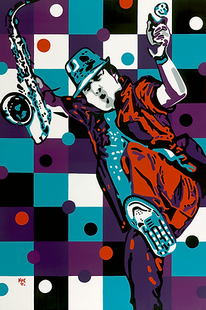SAXMAN SPY Original Canvas Painting For Sale | Contemporary Pop Artwork by Artist Anita Nevar.