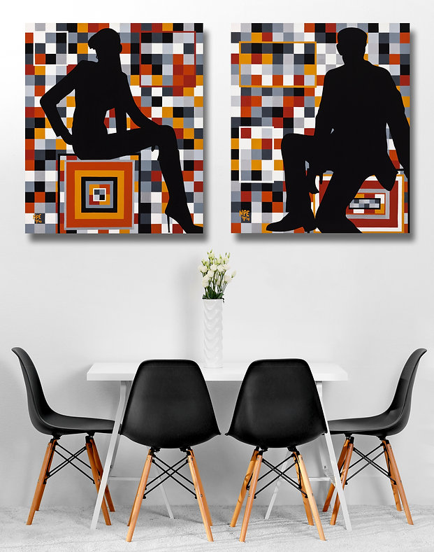 ILLUSIONS 1 & 2 Original Canvas Paintings | Pop Erotic Artwork For Sale by Artist Anita Nevar.