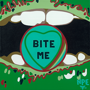 BITE ME Original Canvas Painting For Sale | Pop Erotic Artwork by Artist Anita Nevar.