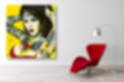 BOMBSHELL Original Artwork for Modern Home Interior Décor | Pop Erotic Fine Art Prints For Sale by Artist Anita Nevar.