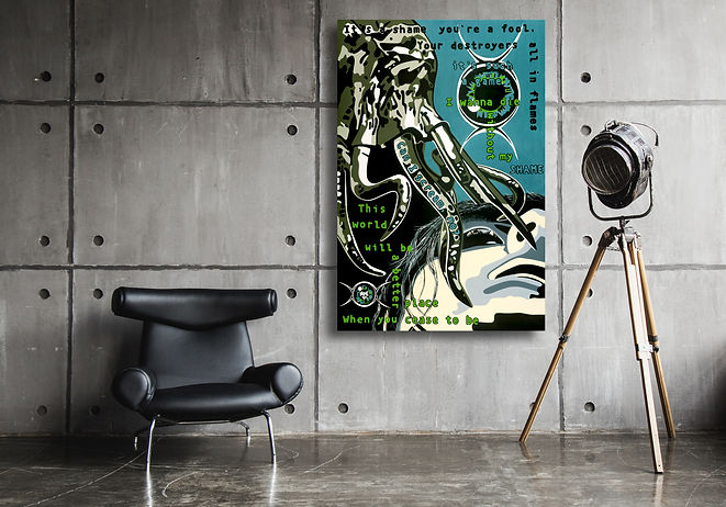SHAME Macabre Goth Rock Artwork for Modern Home Interior | Fine Art Prints For Sale by Artist Anita Nevar.