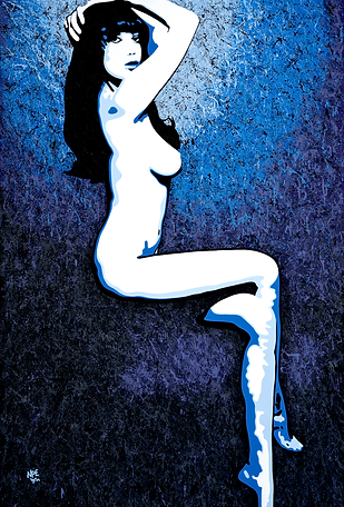MISS DAISY Blue Fine Art Prints For Sale | Pop Erotic Artwork by Artist Anita Nevar.