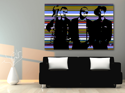 THE SANDINISTAS Contemporary Pop Rock Artwork for Modern Home Interior | Original Canvas Painting For Sale by Artist Anita Nevar.