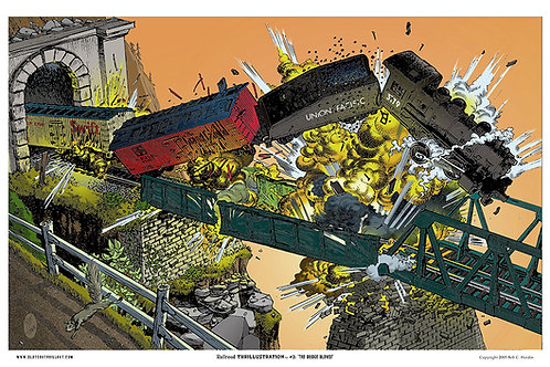 "Slot Car Thrillustration #28 ""THE BRIDGE BLOWS"""