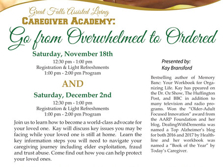 Upcoming Local Event for Caregivers