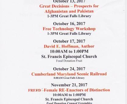 Great Falls Senior Center Upcoming Events