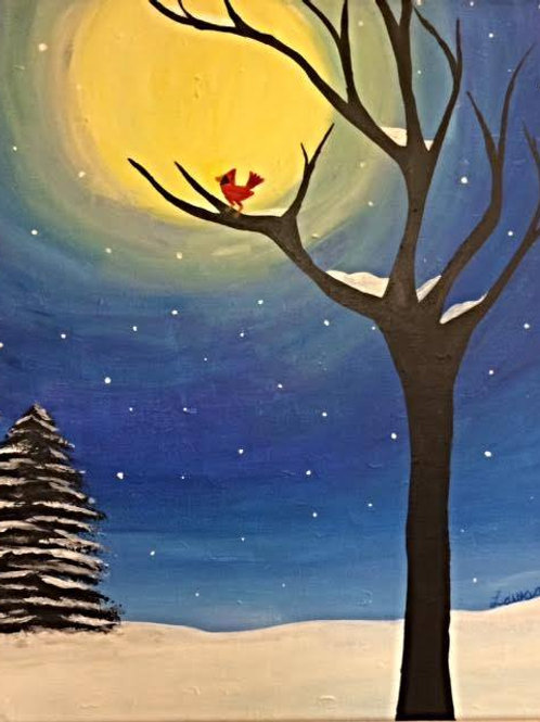 Winter Moon with Cardinal