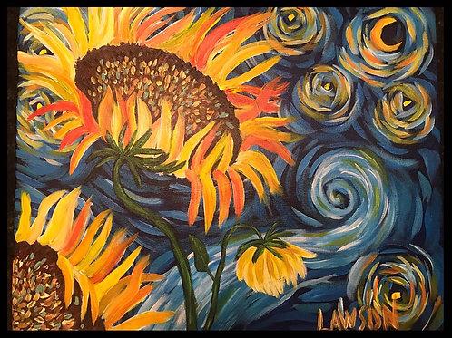 Sunflower Starry Night