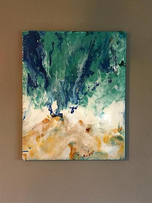 """Ocean tide"" Resin on Canvas"