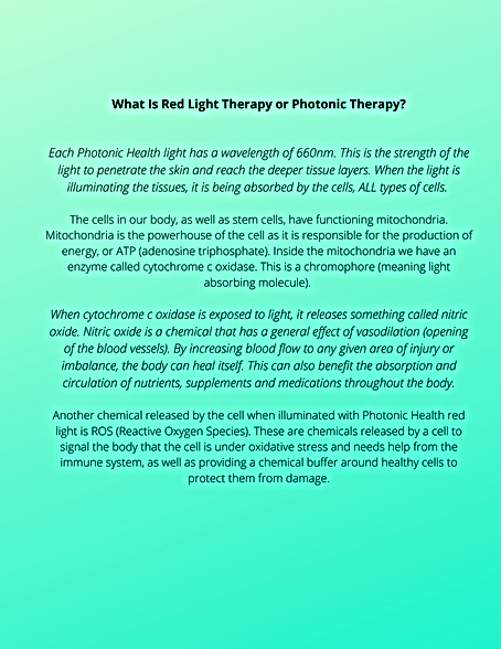 What Is Red Light Therapy or Photonic Th