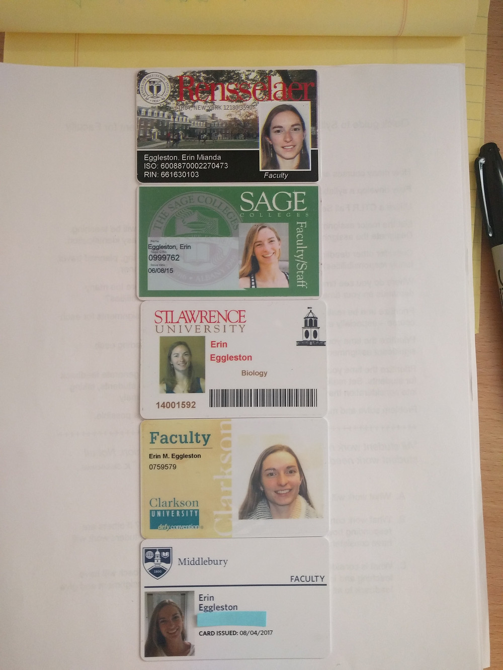Tenure-track tracks: my assortment of Faculty IDs