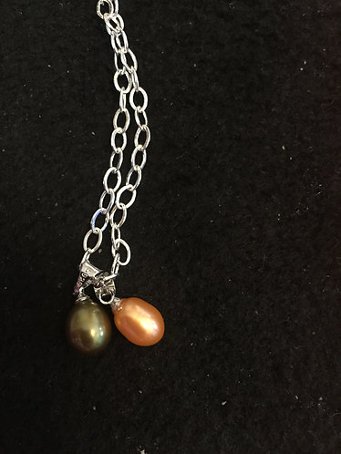 olive green and orange double pearls (no chain)