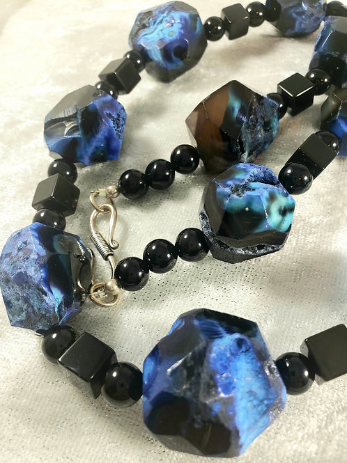 Midnight Blue Moon Agate and Black Onyx Necklace