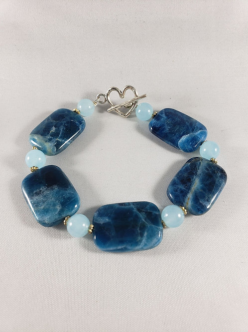 Blue Apatite and Quartz Bracelet