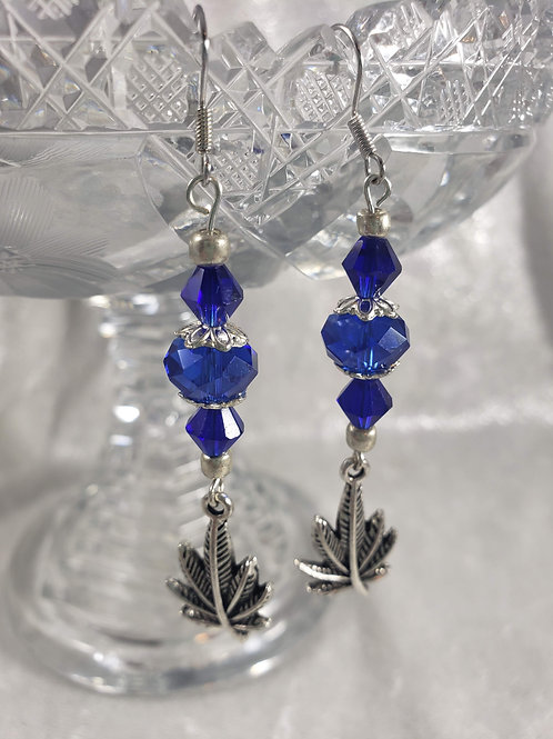 Royal Blue Crystal and Sterling Silver Earrings