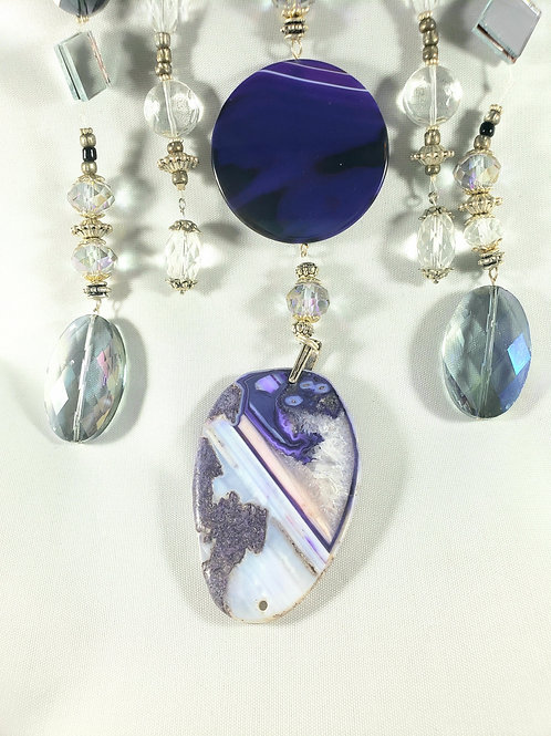 Purple Agate with Crystals Suncatcher
