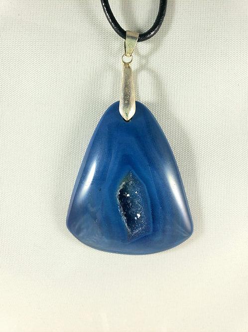 Blue Drusy Agate Pendant Necklace