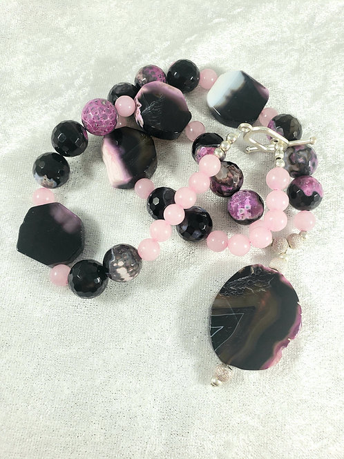 Fushia and Pink Agate and Rose Quartz Necklace