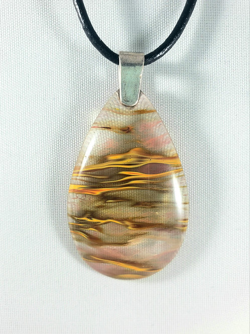 Bands of Fire Agate Pendant Necklace