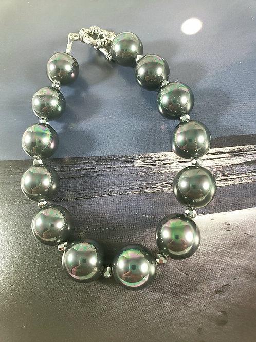 Gunmetal Grey Bracelet with Metallic Rainbow Sheen
