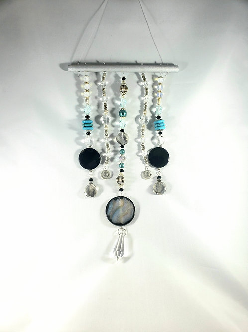 Turquoise Black Onyx and Blue Agate Wall Hanging - Suncatcher