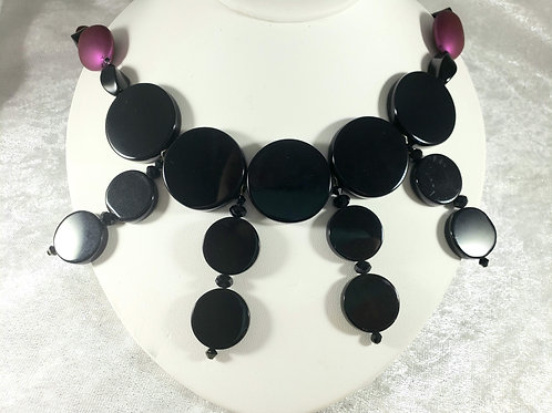Black Onyx Rounds and Fuschia beaded Statement Necklace