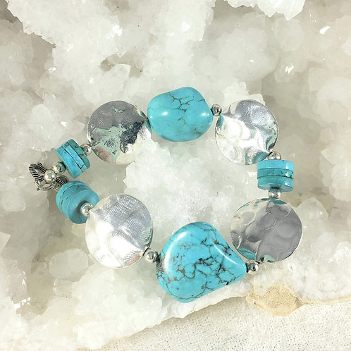 Turquoise and Sterling Silver Chunky Bracelet