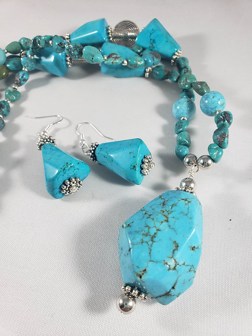 Natural Turquoise double strand Necklace and Earring set