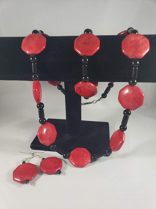 3 pc. Red Howlite and Black Onyx Necklace, Bracelet and Earrings set
