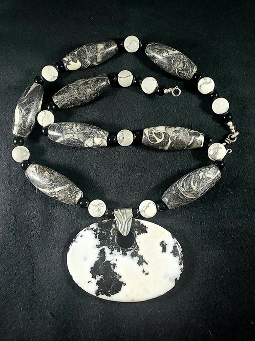 Zebra Jasper, Onyx and Howlite Necklace