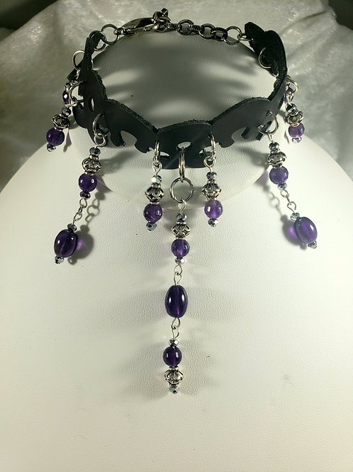 Dangling Amethyst Adjustable Bracelet or Anklet