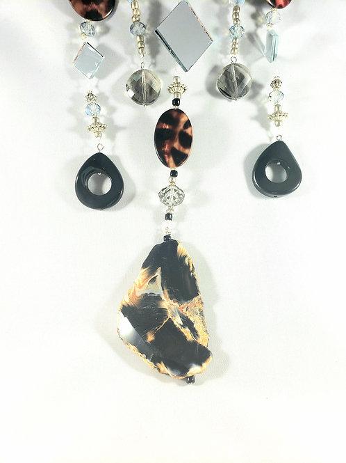 Black Agate and Onyx Animal Print Suncatcher