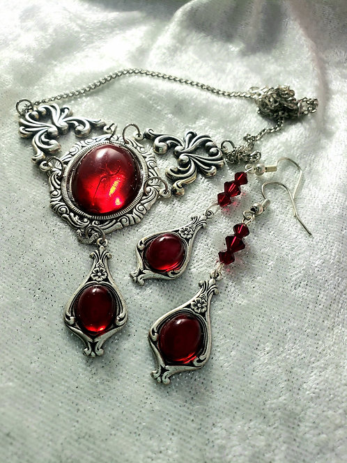 Romantic Ruby Red Necklace and Earrings set