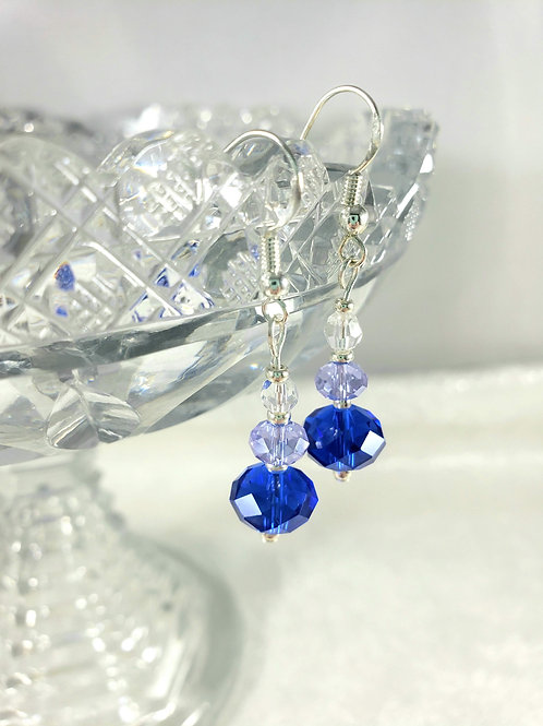 Royal Blue and Periwinkle Swarovski Crystal Earrings