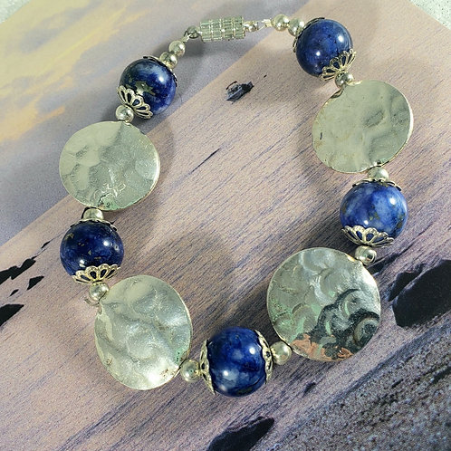 Lapis Lazuli and Sterling Silver Hammered Bracelet